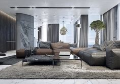 Wohnzimmer Ideen mit brauner Couch - Braun und Grau kombinieren ...