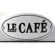 Vintage Black and White French Enamelware Le Cafe Sign ($104) ❤ liked on Polyvore
