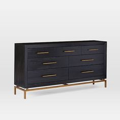 Crafted of solid acacia wood and equipped with seven roomy drawers, our Alexa Dresser features a bold black finish that shows off the rich, textured grain. Beveled edges and brass-finished metal details add a refined touch. Colorful Furniture, Furniture Decor, Bedroom Furniture, Kitchen Furniture, Furniture Dolly, Bedroom Decor, Bedroom Inspo, Bedroom Inspiration, Kids Furniture