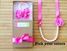 Custom shabby chic jewelry set - bubblegum pink - pick your colors - by MissSweetPeaBoutique, $21.00
