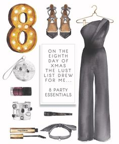 """LINE BOTWIN """"Girly illustrations# On the eighth day of Christmas the Lust List drew for me. 8 party essentials Tap for details Evelyn Henson, Fashion Sketches, Drawing Fashion, Fashion Illustrations, The Eighth Day, Hand Illustration, Art Boards, Girl Fashion, Essentials"""