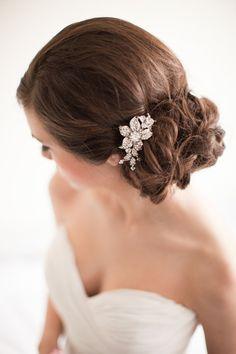 Flower Rhinestone Bridal Comb Floral by MelindaRoseDesign on Etsy