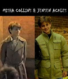 Misha Collins & Jensen Ackles as kids... Is it just me, or does anyone else find it utterly hysterical that Misha is in a trench coat here?
