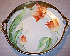 Art Nouveau Bavarian porcelain tray HP signed Fenice
