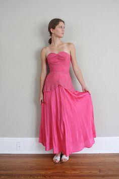 Sale // 1940s Vintage Party Dress in Pink Lace  by adVintagous, $52.00
