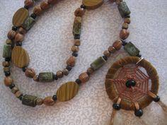 Boho vintage dream catcher beaded necklace by Boho Rain, via Etsy.