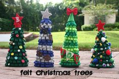 """Lines Across"": Felt Christmas Trees"