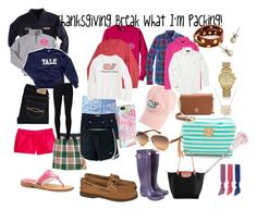 """""""Preppy Thanksgiving Break Packing List for the Beach"""" by kk-wake ❤ liked on Polyvore featuring Fraternity, Tory Burch, Abercrombie & Fitch, Michael Kors, J.Crew, Hunter, Moon and Lola, Jack Rogers, Lilly Pulitzer and Vineyard Vines"""