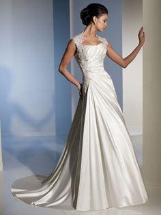 A-Line Sweetheart Asymmetrical Waist Non-Strapless Tank Satin Wedding Dress