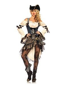 Treasure Island Pirate Adult Women's Costume exclusively at Spirit Halloween - One look at you in this Treasure Island Pirate adult womens costume and they'll know where to bury the treasure. The blue, black and white, ornately crafted dress comes complete with a black belt and a back bow. Sail the high seas or just head out to the party looking good! Get yours for $99.99.