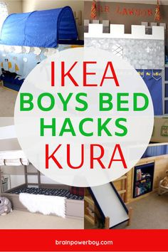 Looking for the perfect IKEA KURA bed for your boy's room? Find exactly what you need right here! There are castle beds, fire truck beds, Star Wars beds, climbing wall beds and more. Kids Bed Tent, Ikea Kids Bed, Ikea Hack Kids, Bed Ikea, Ikea Boys Bedroom, Lego Bedroom, Childs Bedroom, Bedroom Desk, Dream Bedroom
