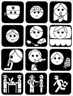 A set of icons designed for a childrens hospital in Buenos Aires, by Guillermo Gonzales Ruiz and Gabriel Ezcurra. The rabbit on a table is a nice touch. via present & correct