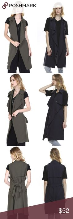 Sleeveless Military Belted Trench Jacket The classic trench but sleeveless, will become a staple in your closet.  Lightweight woven with rain flaps, wide collar, pockets and a belted waist.  97% Polyester, 3% Spandex. Color - Olive & Navy. Sizes - S,M,L in both color Fate Jackets & Coats Vests