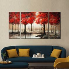 'Through The Trees' Hand Painted 3-piece Gallery-wrapped Art Set | Overstock.com Shopping - The Best Deals on Gallery Wrapped Canvas