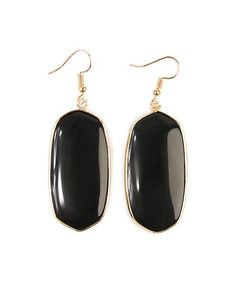 This Black & Goldtone Oval Drop Earrings is perfect! #zulilyfinds