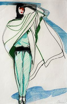 Fashion illustration by Phil French (b.1943), 1980s.