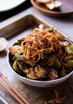 Asian Roasted Brussels Sprouts with Crispy Fried Shiitake Mushrooms
