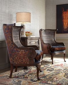 Glam Living Room, Cozy Living, Living Room Sofa, Living Room Furniture, Living Room Decor, Wingback Accent Chair, Wing Chair, Dining Room Table Chairs, Cool Furniture