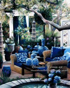 Le patio, pastel sec sur pastel card, format 65 x 50 cm Outdoor Rooms, Outdoor Ideas, Outdoor Living, Outdoor Decor, Backyard Garden Design, Backyard Ideas, Italian Home, Pastel, Sofa