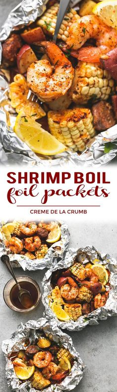 Easy, tasty shrimp boil foil packs baked or grilled with summer veggies, homemade seasoning, fresh lemon, and brown butter sauce. The BEST and easiest way to make shrimp boil at home! Foil Pack Dinners, Foil Packet Meals, Camping Foil Dinners, Campfire Meals Foil, Tin Foil Dinners, Shrimp Boil Foil Packs, Shrimp Foil Packets Oven, Grilled Foil Packets, Weight Watcher Desserts