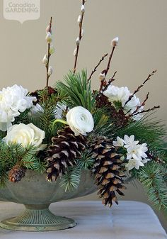 Seasonal flower arrangement: Winter walk - Gardening Go Christmas Floral Designs, Christmas Flowers, Winter Flowers, Seasonal Flowers, Winter Bouquet, Spring Flowers, Winter Flower Arrangements, Christmas Arrangements, Floral Arrangements