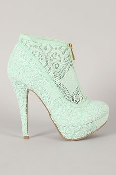 Liliana Claudia-5 Lace Zipper Platform Ankle Bootie