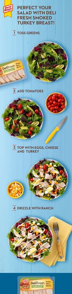 This salad will then be ready to be tossed and served at a moment's notice. Healthy Meal Prep, Healthy Salad Recipes, Lunch Recipes, Healthy Snacks, Healthy Eating, Cooking Recipes, Fresh Turkey, Smoked Turkey, Deli Fresh