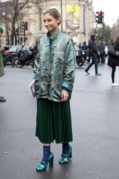 On the street of Paris Fashion Week. Photo: Emily Malan/Fashionista.