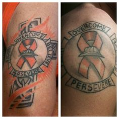 """As a firefighter/paramedic and now a fire inspector living with MS, I hope this tat honors the ""brotherhood"" of the Fire Service and the MS fighters in us all""  You can read more of Dave's story by clicking on the image."