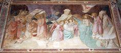 Agnolo Gaddi - Storie di San Giovanni Battista,  Battesimo di Gesù e dei neofiti - affresco - 1385 - Cappella Castellani - Basilica di Santa Croce a Firenze.