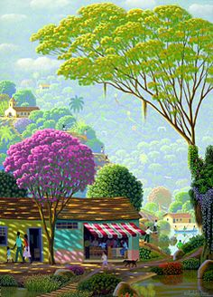 Holiday by Edivaldo Barbosa de Souza - GINA Gallery of International Naive Art Landscape Illustration, Illustration Art, Art Fantaisiste, Amazing Drawings, Naive Art, Whimsical Art, Color Theory, Tree Art, Cute Wallpapers