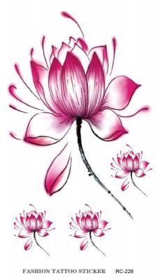 Pembe Çiçek Geçici Dövme, Tattoo, Temporary Tattoo
