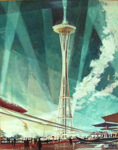 Space Needle rendering by Earle Duff, Century 21 Exhibition, 1962