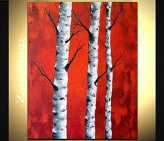 Large birch tree painting original contemporary art by ZarasShop