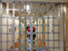 Using Duck Tape to make metal gate For the cage in witch's swamp to lock up the…