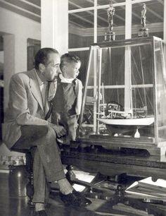 1952 Humphrey Bogart and son Steven study model of Santana
