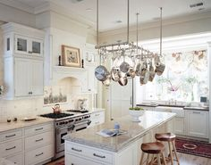 Kitchen: Pot Rack Kitchen Traditional With Ideas Island Images Farmhouse Kitchen Island With Pot Rack Small Kitchen, Rustic Farmhouse Kitchen, Modern Kitchen, Kitchen Trends, Kitchen Cabinets Makeover, Kitchen Remodel, Pot Rack Kitchen, Pot Rack Hanging, Kitchen Island Storage