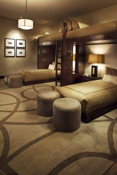 Bedroom Design, Astounding Modern Bedroom With Elegant Adult Bunk Beds Ideas Also Elegant Carpet Pattern Also Gorgeous Padded Stools Design Also Classic Pendant Light Modern Night Table Modern Table Lamp Design: Fabulous and Cozy Adult Bedroom Ideas Contemporary Bunk Beds, Modern Bunk Beds, Cool Bunk Beds, Bunk Beds With Stairs, Adult Bunk Beds, Kids Bunk Beds, Loft Beds, Bunk Rooms, Bunk Bed Designs