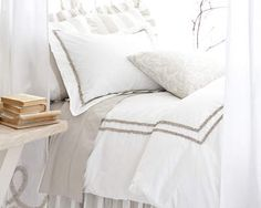 Ruched Platinum & White Duvet Cover and Shams by Pine Cone Hill. Ruched Platinum Bedding at J Brulee Cozy Bedroom, Dream Bedroom, Bedroom Decor, Master Bedroom, Bedroom Ideas, Bedroom Styles, Bed Sets, White Bedding, Bedding Sets