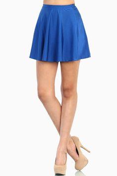 Royal Blue Skater Skirt -SHINY NYLON- Blue