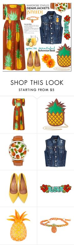 """D e n i m Jacket - C r u s h e d Pineapple"" by nonniekiss ❤ liked on Polyvore featuring Tata Naka, Nila Anthony, A Classic Time Watch Co., Dsquared2, Moda In Pelle, Isabel Canovas and Venessa Arizaga"