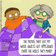 Mrs. Bobbins deals with those pesky moths...they get appliquéd over the holes they make!