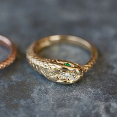 14kt gold and diamond snake ring – Luna Skye by Samantha Conn
