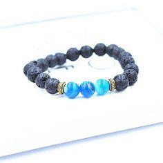 Ocean Blue Agate and Lava Bracelet