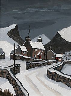David Barnes artist, paintings and art at the Red Rag Modern Art Gallery Painting Snow, Winter Painting, Winter Art, Winter Landscape, Landscape Art, Landscape Paintings, Art Paintings, Art Gallery, Building Painting