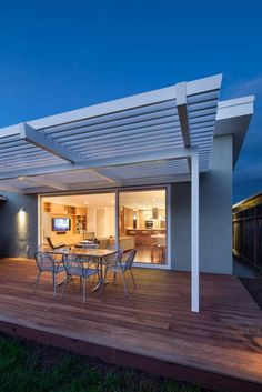 Landscaping And Outdoor Building , Outdoor Modern Pergolas : White Attached Modern Pergolas