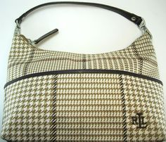 Ralph Lauren Women Bag Brown Tan White Leather Trim.  MMM 35 #RalphLauren