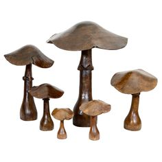 1stdibs - Collection of 6 Wooden Mushroom Sculptures, France, 20th C.