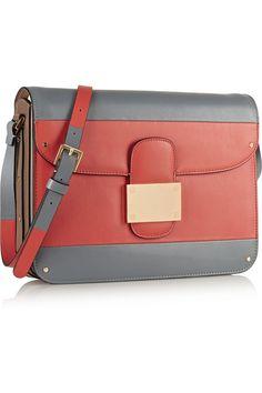 Valentino|Sac porté épaule en cuir color-block Rivet|NET-A-PORTER.COM