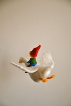 Children Mobile Waldorf inspired needle felt: The Boy door MagicWool
